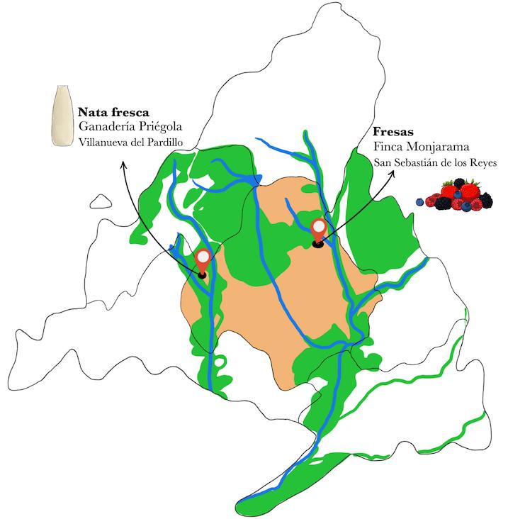 Mapa fresas con nata fresca