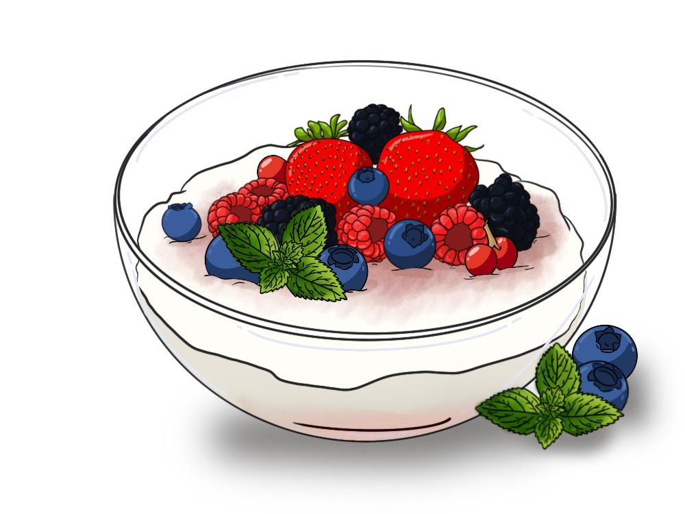 Plato frutos rojos con yogur de leche de cabra y miel