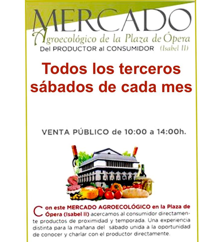 Cartel del Mercado Agroecológico de la Plaza de Ópera, Madrid