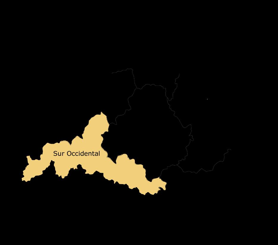 Mapa de la comarca agrícola Sur Occidental